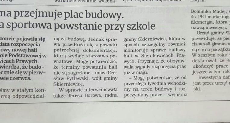 Hala sportowa w Sierakowicach Prawych – zaczynamy