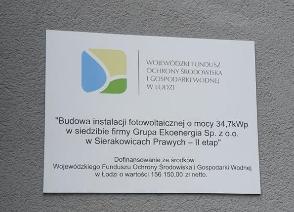 Budowa instalacji fotowoltaicznej w siedzibie firmy dofinansowane ze środków WFOŚiGW